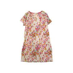 ブローチ付き♪Iラインシルエットがキレイなお花畑柄ワンピース ❤ liked on Polyvore featuring dresses, vestidos, women and pink dress