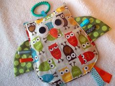 Urban owl Crinkle Crackle Sensory owl Taggie toy by MBDesigns, $9.99