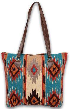 Southwest Boho Dream Catcher Mayan Oversized Wool Tote Bag