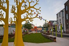 tree near pop up park for writing messages