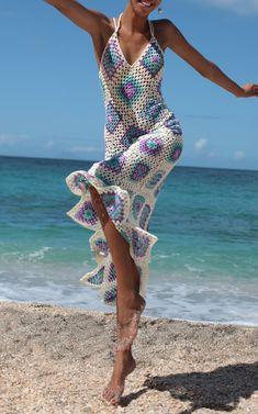 Beach dress, open back maxi dress, Crocheted Granny Square Backless Sundress, Festival Gypsy maxi dress, crochet patchwork Beach dress Crochet Beach Dress, Crochet Summer Dresses, Pull Crochet, Crochet Granny, Open Back Maxi Dress, Crochet Fashion, Crochet Clothes, Crochet Outfits, Boho Fashion