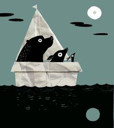 boat moon / benji davies illustration