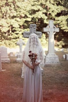 Unconventional wedding in a graveyard. Kinda dig it. (Bona Drag goes bridal with a graveyard wedding)