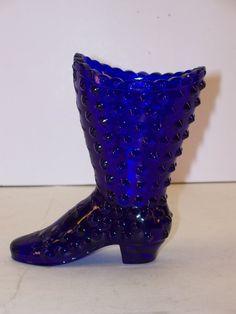 Fenton Cobalt Blue Glass Hobnail Boot Logo by GarageSaleGlass, $15.99