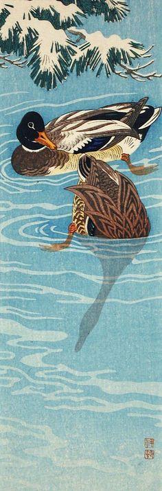 Mallard Ducks Swimming Ohara Shōson (Koson) (Japan, 1877-1945) Japan, 1935 Prints; woodcuts Color woodblock print Image: 9 9/16 x 3 1/4 in. (24.29 x 8.26 cm); Sheet: 9 7/8 x 3 7/16 in. (25.08 x 8.73 cm) Gift of Chuck Bowdlear, Ph.D., and John Borozan, M.A. (M.2000.105.150) Japanese Art