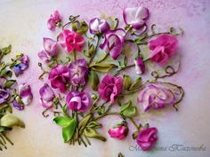 Pink and white sweet peas bouquet #ribbonembroidery