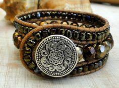 CUSTOM leather cuff bracelet wrap boho surfer zen earthly by ShySu, $47.00
