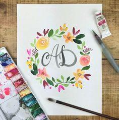 In May I'll be running a Watercolour Flower Wreath workshop in West End with a little touch on brush lettering and monograms. Wanna come? Standby for details. by theinkrefinery