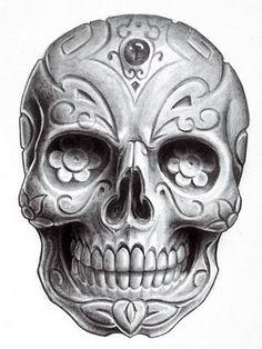 Dia de los Muertos. Sugar Skull. Beautiful drawing