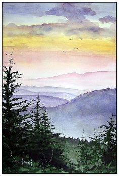 Watercolor Landscape Tutorial, Watercolor Projects, Easy Watercolor, Watercolor Paintings Nature, Watercolor Portraits, Landscape Paintings, Watercolours, Easy Paintings, Diy Painting