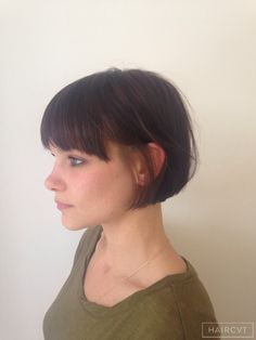 women short bob one length hairstyle
