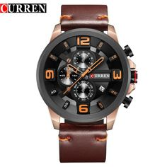 aaab244667d CURREN Men Watches Top Brand Luxury Quartz Gold Watch Men Casual Leather  Military Waterproof Sport Wrist