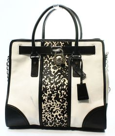 Michael Kors NEW White Haircalf Printed Center Medium Tote Bag Purse $448-#026 #MichaelKors #TotesShoppers
