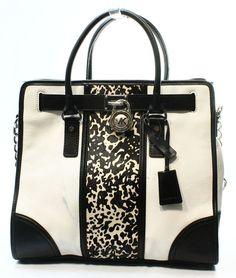 Michael Kors NEW White Haircalf Printed Center Medium Tote Bag Purse $448-#026 #MichaelKors #TotesShoppers