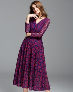 #VIPme Purple Lace Pierced Slim Fit A Line Midi Dress ❤ Get more outfit ideas and style inspiration from fashion designers at VIPme.com