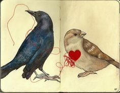 Pick Me Apart -- by Kanjimaru67; Moleskine, mixed media: tea, colored pencils, pen, white ink, red felt, red thread     #art #journal  #mytumblr