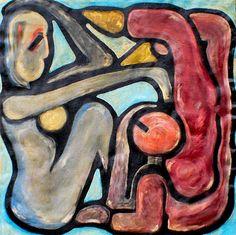Gravid, hvad nu ? Olie på lærred (82x77) 1986 af Svend Christensen