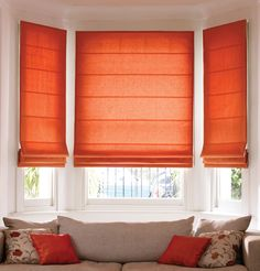 Custom Blinds On A Bow Window Modern Living Room . Natural Beauty Of Wood Window Blinds Window Treatments . Home and Family Bay Window Blinds, Blinds For Windows, Bay Windows, Window Curtains, Bay Window Treatments, Window Coverings, Red Curtains, Curtains With Blinds, Roman Curtains