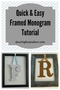 How cute it this framed monogram? What a perfect idea for the entryway! This…