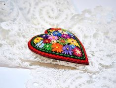 Valentine gift Unique Brooch heart Felt brooch Embroidered flowers brooch Fabric jewelry Hand embroidery art Heart pin Gift idea for mom