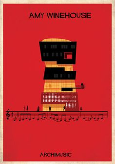 Classic songs illustrated as buildings – Rehab by Amy Winehouse.