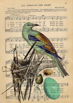 Vintage  Bird And Her Nest Original Collage Art Print - Upcycled Antique Sheet Music