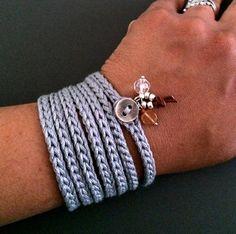 Crochet wrap bracelet with charms grey cuff by CoffyCrochet