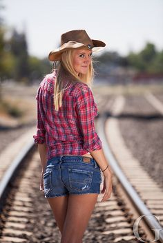 Cowgirl and Railroad Tracks