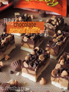 Triple Chocolate Peanut Butter Bites: a slightly crunchy peanut butter cup layer, sandwiched between dark and white chocolate layers, and topped off with some more chocolate and peanut butter!