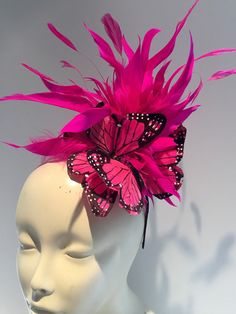 This Pink Fascinator Butterfly Headdress Derby High Tea is just one of the custom, handmade pieces you'll find in our fascinators shops. Black Fascinator, Fascinator Headband, Fascinators, Headpieces, Kentucky Derby Fascinator, Kentucky Derby Hats, Derby Outfits, Derby Party, Diy Hat