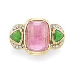 Gold, Cabochon Pink Tourmaline, Diopside and Diamond Ring   One cushion-shaped cabochon pink tourmaline ap. 14.2 x 10.0 mm., ap. 10.5 dwt