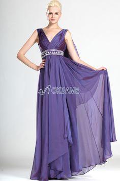 Chiffon Empire Taille prächtiges Abendkleid/ Partykleid mit Kristall mit Perlengürtel