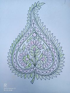 Indian Embroidery Designs, Embroidery Patterns, Hand Embroidery, Paisley Art, Paisley Pattern, Wreath Drawing, Drawing Tutorials, Bra Styles, Indian Art