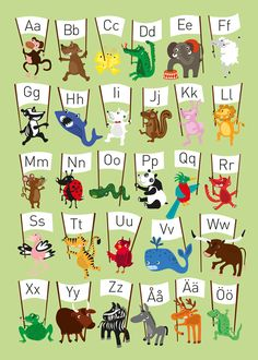 Posters and prints in Scandinavian design - Nordic Poster Collective Educational Activities For Kids, Kids Learning, Learn Swedish, Buy Posters Online, Abc Poster, Unique Poster, Animal Alphabet, Nordic Design, Kids Decor