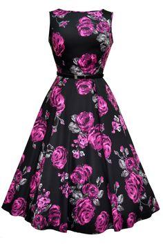 Mega fede Sort Kjole med Violette Roser 50 Modetøj til Damer i luksus kvalitet