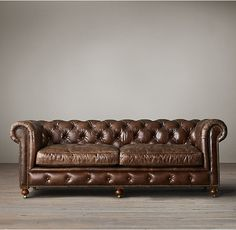RH's Petite Kensington Leather Sofa:A masterful reproduction by Timothy Oulton of the classic Chesterfield style, our sofa evokes the grand gentlemen's club tradition. Our petite size collections are perfectly proportioned for smaller spaces.