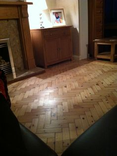 Beautiful herringbone pine floor sanded and varnished in satin clear