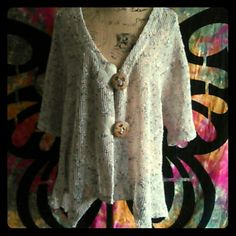 💰💰💰Large button cardigan Katie Todd unique large button front top in size large. Sleeves also have detail. Offwhite in color with flecks. NWOT. Could also probably be a great bathing suit cover up ! Katie Todd Sweaters Cardigans
