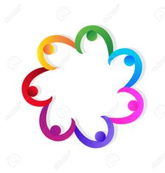 Holding Hands Teamwork Successs People Vivid Colorful Icon Design.. Royalty Free…