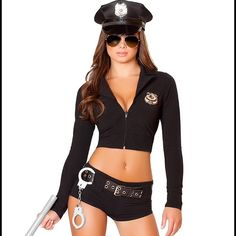 Sexy Cop Costume Size Small-Medium. Paid $70 for this originally. Be arrested in this six-piece, Officer Sexy costume featuring a long sleeve crop top with a zip up front, police badge, black booty shorts, belt, toy baton and hat. (Glasses not included.) Worn once for Halloween, practically new. Came with plastic handcuff but they broke because they were cheaply made. Yandy Other