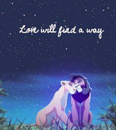 """Love will find a way."" Kiara and Kovu (The Lion King II: Simba's Pride) Disney Pixar, Disney And Dreamworks, Disney Films, Disney Art, Walt Disney, Kiara Lion King, Kiara And Kovu, Lion King 3, Simba And Nala"