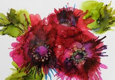 Alcohol Ink Painting - Cluster by Beth Kluth