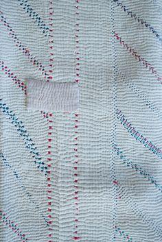 Vintage Kantha Quilt with Blue Border