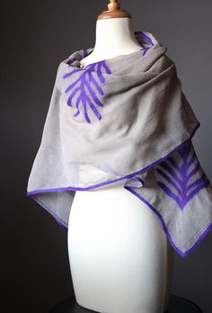 Nuno felted sheer scarf shawl wrap cotton wool organic floral design natural purple long by VitalTemptation , Etsy, via Flickr