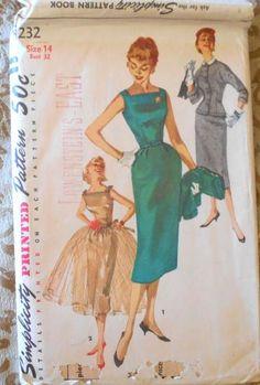 Simplicity 1232 sheath dress 1950s bust 32 by Violetsandwine for $14.00