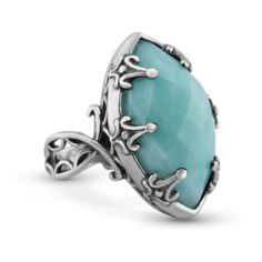 Carolyn Pollack Jewelry   Wintergreen Faceted Amazonite Bold Ring