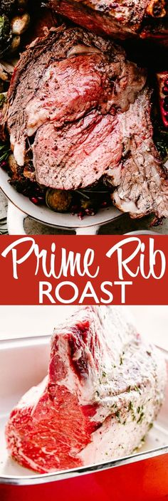 Prime Rib – A classic bone-in Prime Rib Roast is the ultimate special occasion recipe. This juicy, tender, and deliciously cooked prime rib pairs perfectly with the flavorful garlicky crust and the rich au jus sauce. Roast Beef Recipes, Rib Recipes, Easy Dinner Recipes, Holiday Recipes, Cooking Recipes, Smoker Recipes, Cooking Tips, Easy Recipes, Cooking Prime Rib
