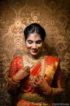 south india's top wedding photographers and filmmakers offices located in hyderabad and bangalore South Indian Bride, Indian Bridal, Saree Wedding, Wedding Bride, Bridal Sarees, Bridal Looks, Bridal Style, Bridal Nose Ring, Indian Wedding Outfits