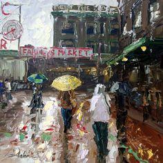 Seattle artist Arlon Rosenoff Fine Art - Market Rain