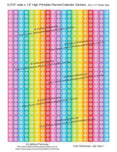 "Target Printable Calendar / Planner Stickers 1.9"" long x 0.375"" wide Rainbow 2015 Planner Acessory ECLP Plum Paper Filofax ect L046 https://www.etsy.com/au/listing/243438466/target-printable-calendar-planner?ref=shop_home_active_17"